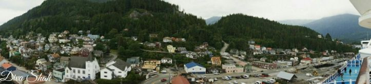 A panoramic view of Ketchikan from the cruise deck