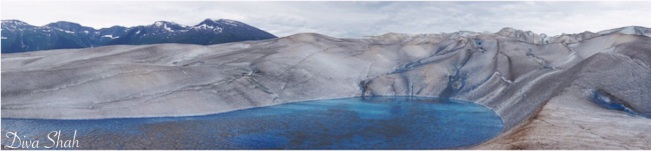 A panoramic view of Mendenhall Glacier