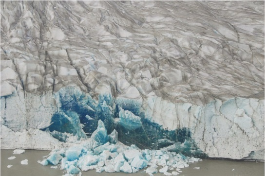 A close-up view of Mendenhall Glacier
