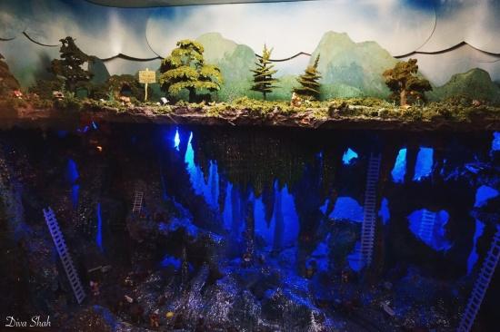 Fantasy land - a miniature model of dwarves mining diamonds